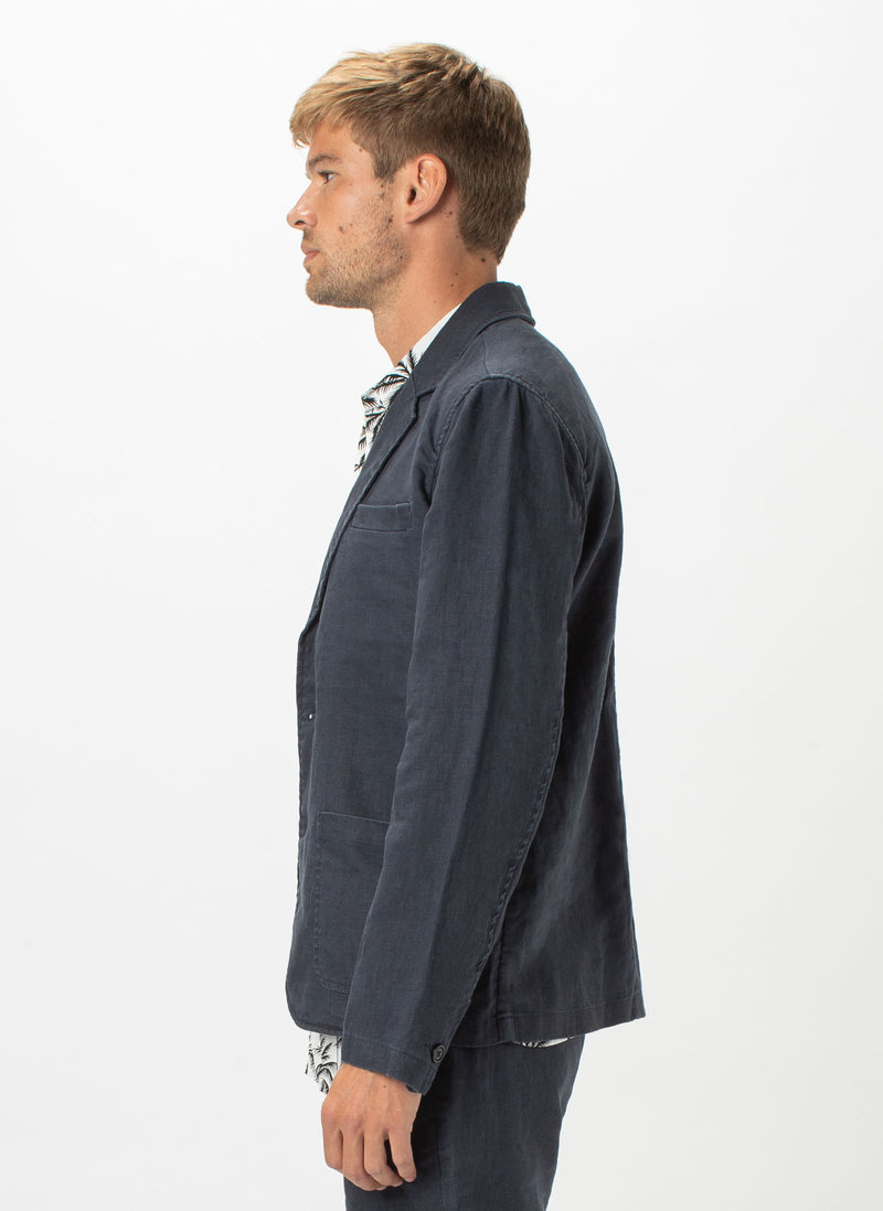 Poolside Jacket Navy Linen