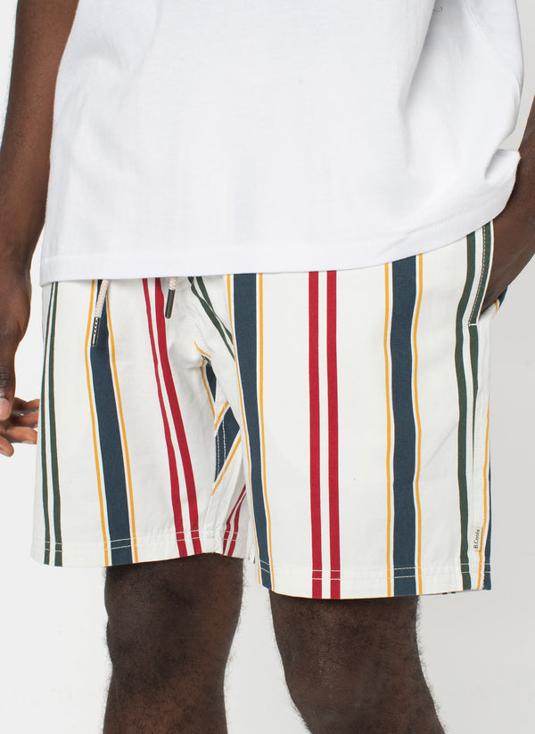 "Poolside 17"" Short White Vert Stripe"