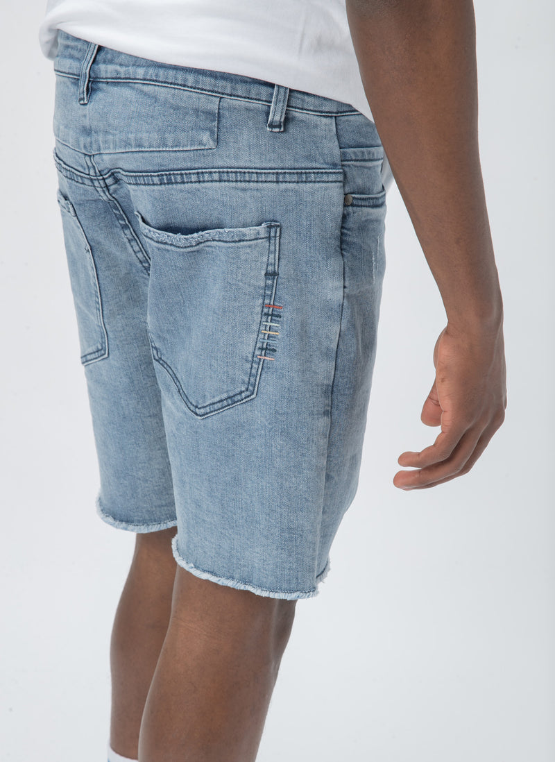 Raw Jean Short Stone Blue