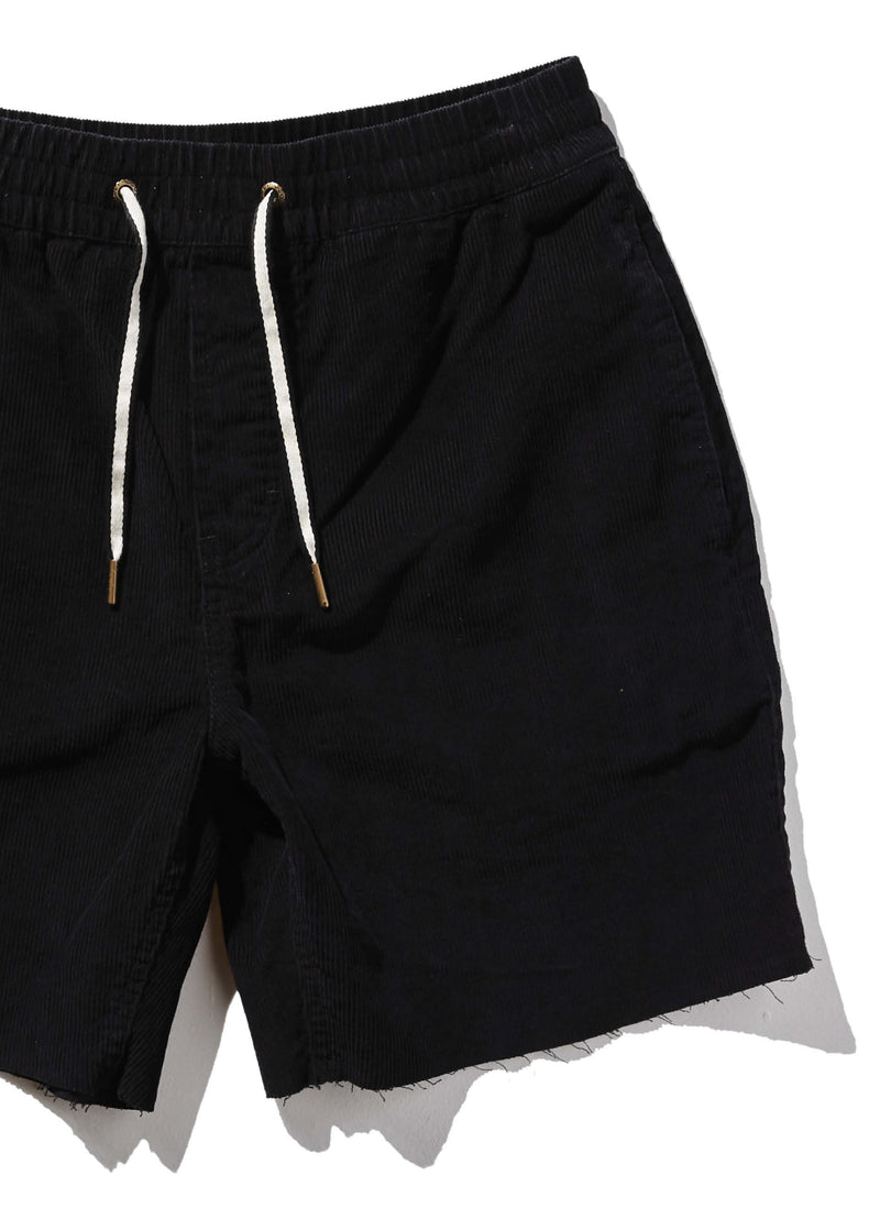 B.Relaxed Short Black Corduroy