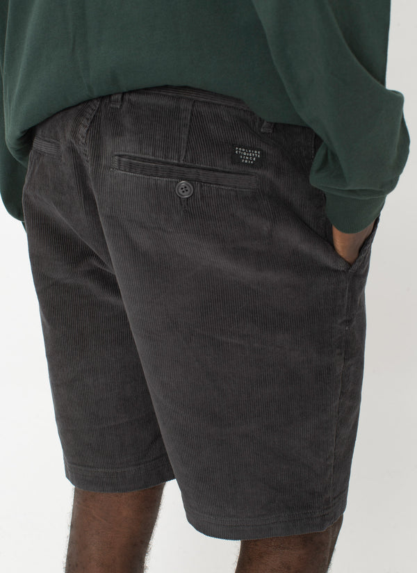 B.Relaxed Short Washed Black Corduroy