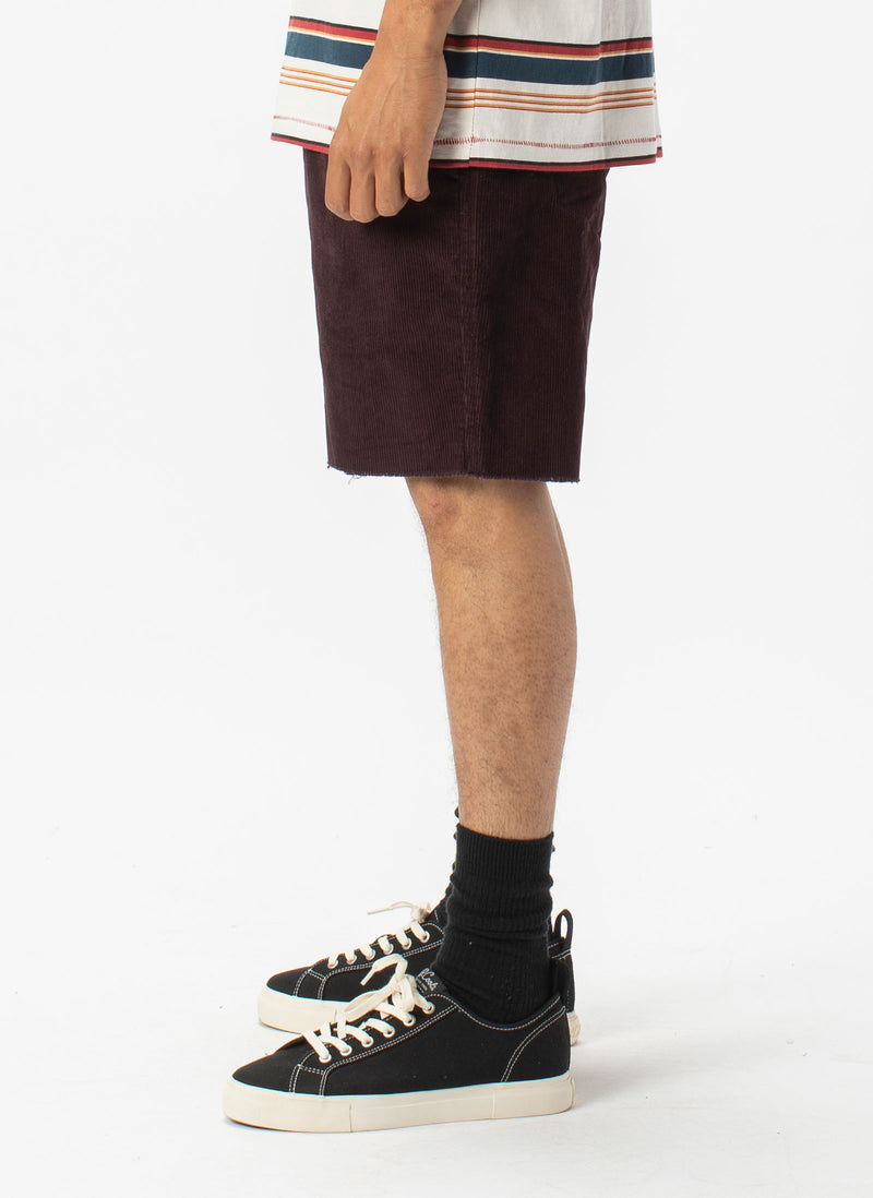B.Relaxed Short Oxblood Corduroy