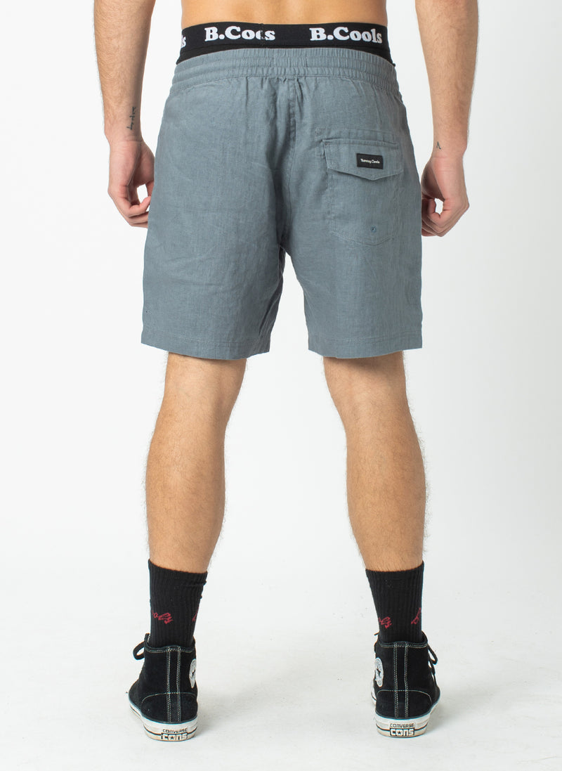 "Poolside 17"" Short Steel Blue Linen"