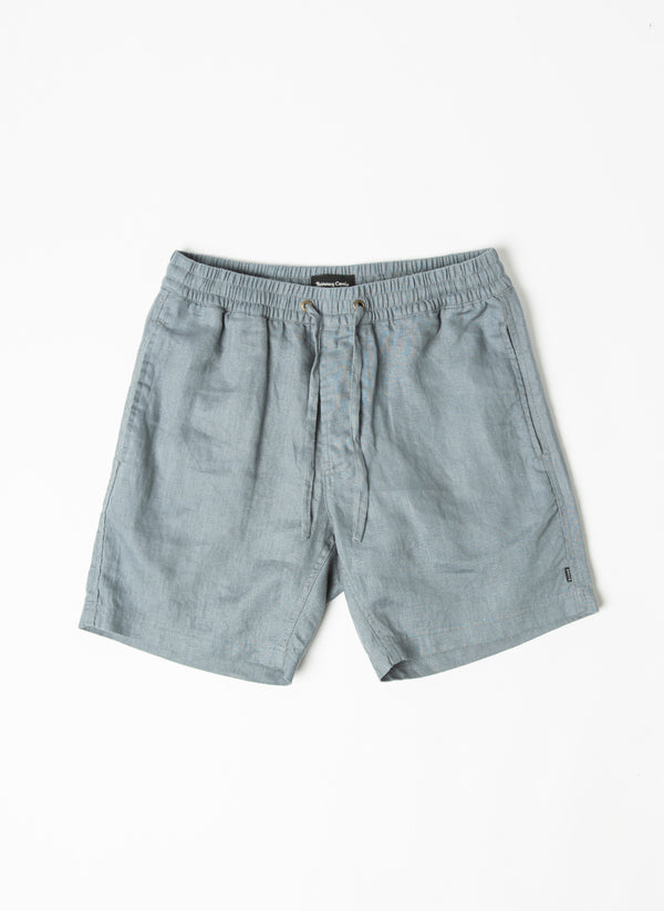 "Poolside 17"" Short Steel Blue Linen - Sale"