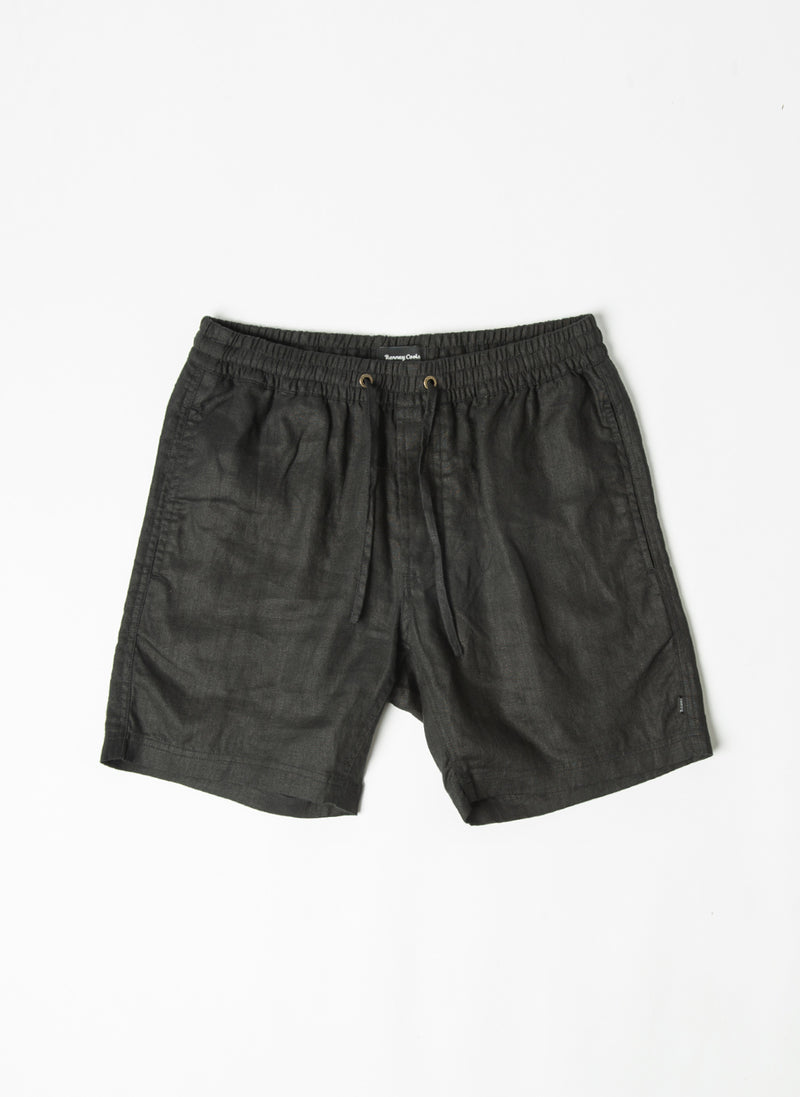 "Poolside 17"" Short Black Linen"