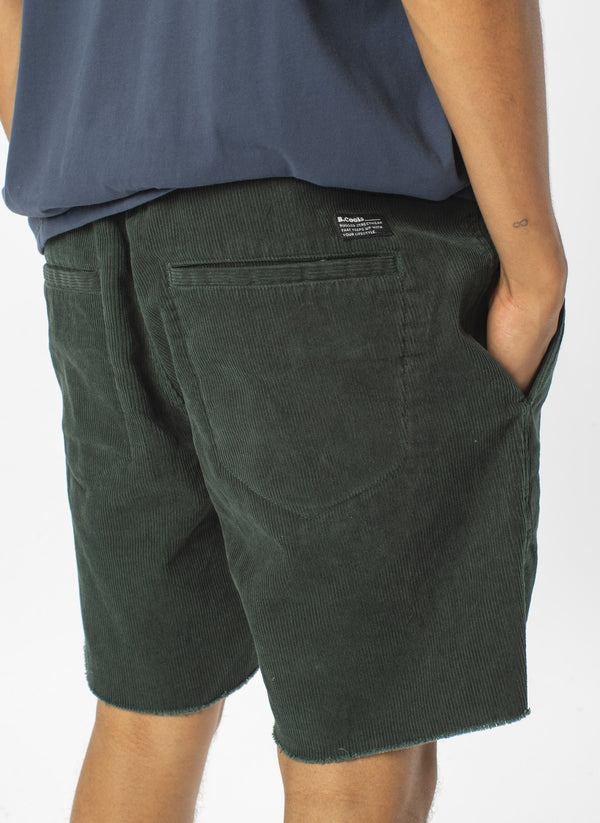 B.Relaxed Short Bottle Green Corduroy