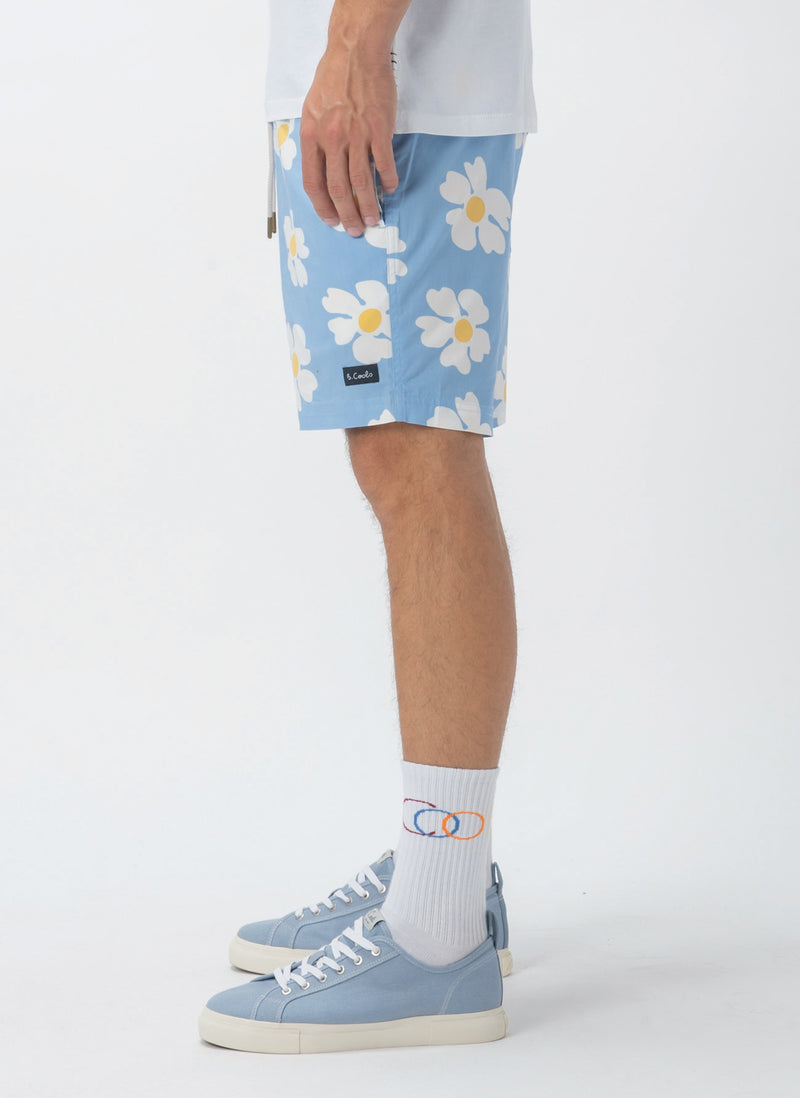 "Amphibious 17"" Swim Short Blue Daisy"