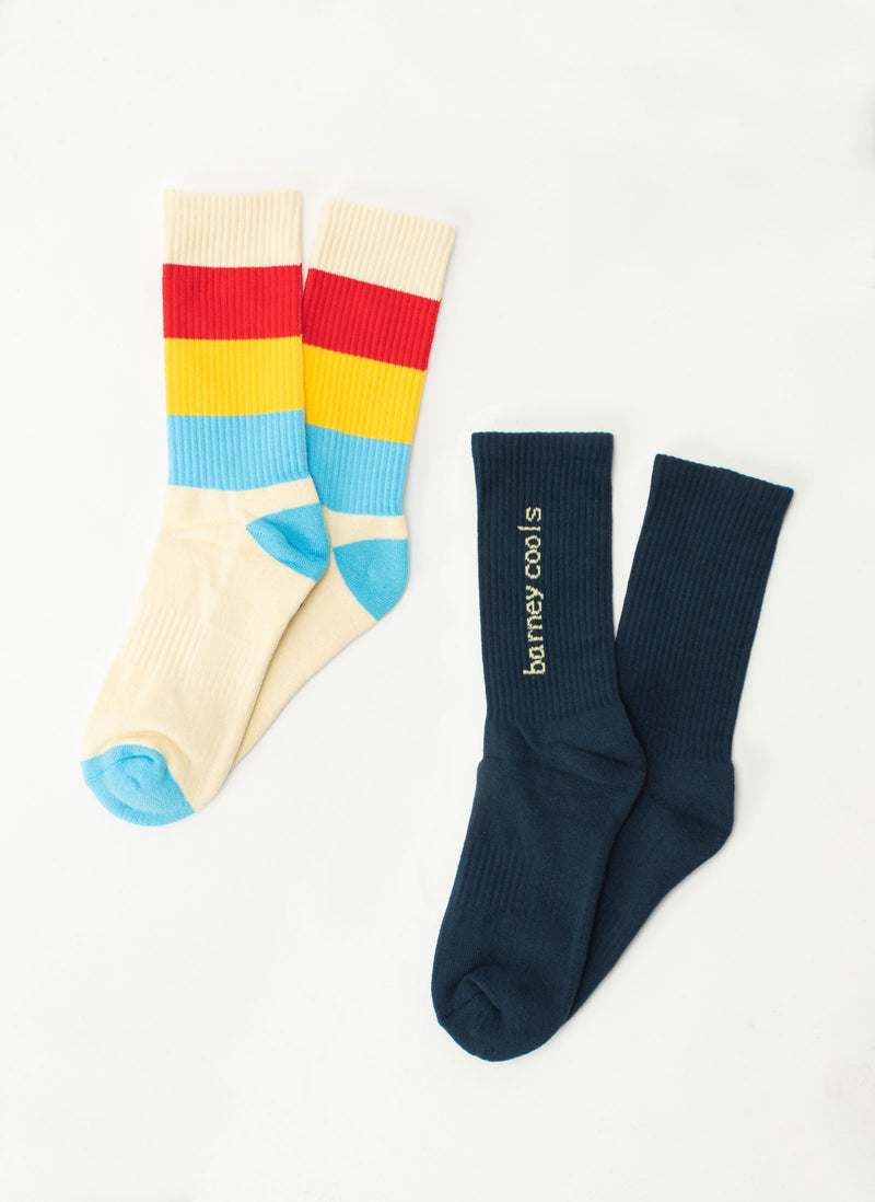 B.Cools 2-Pack Sock Stripe/Navy