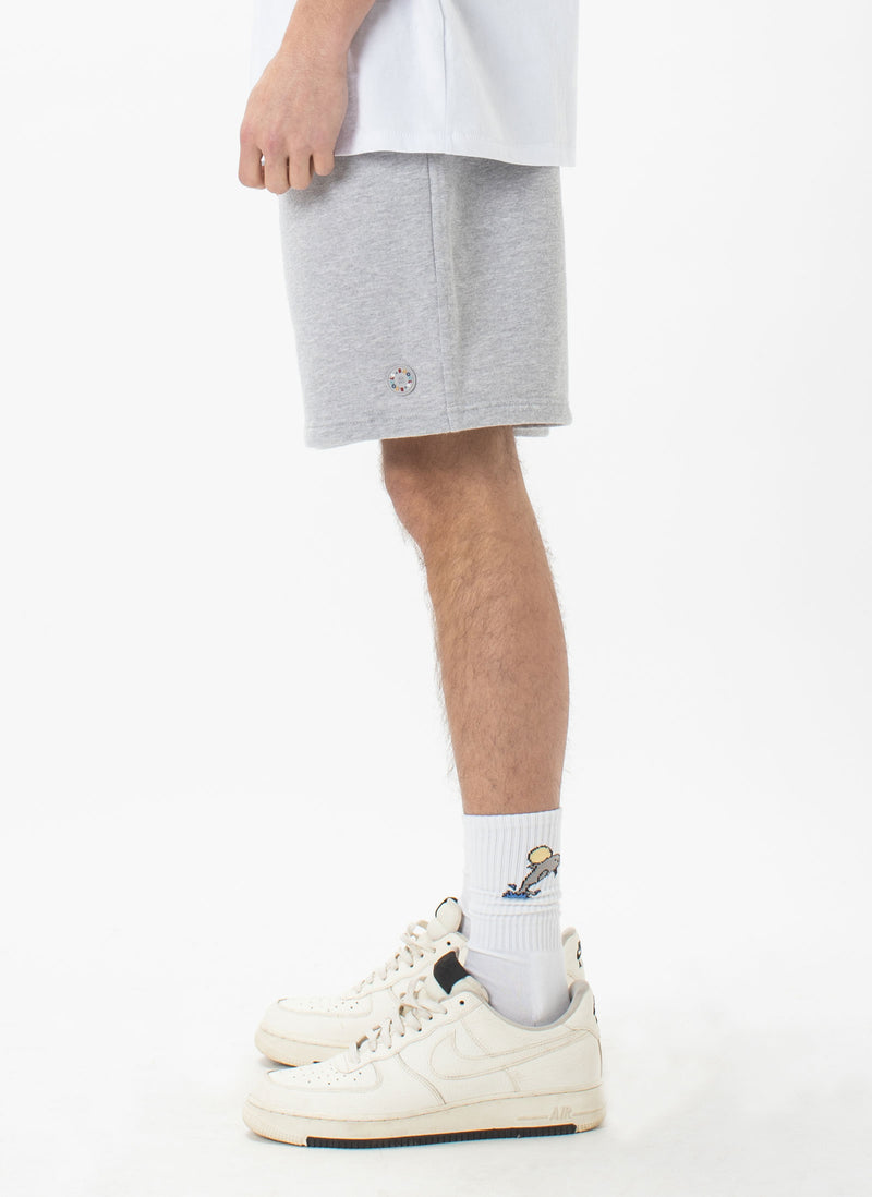 Badge Fleece Short Grey Melange