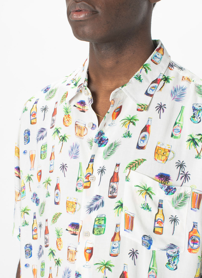 Holiday Short-Sleeve Shirt White Beers