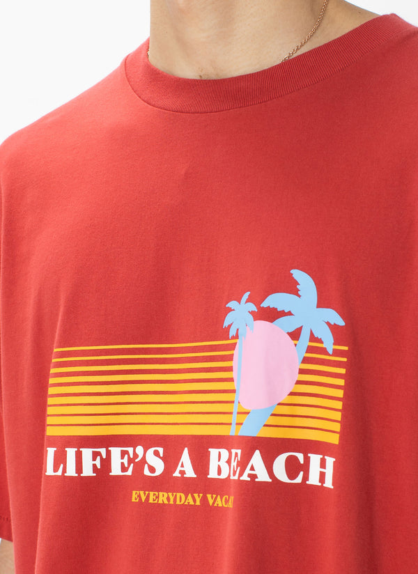 Life's A Beach Homie Tee Vintage Red