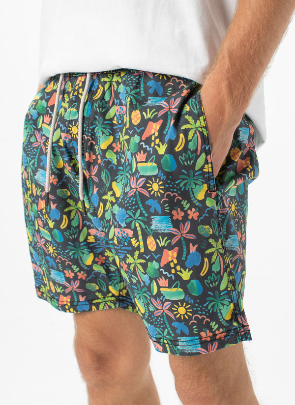 "Amphibious 17"" Swim Short Tropic Nights"