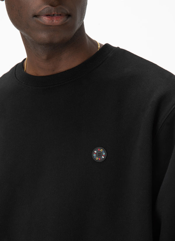 Badge Crew Sweatshirt Black