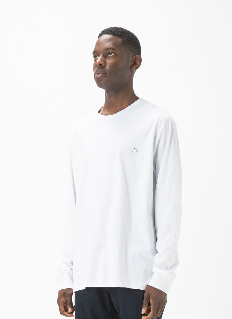 Badge LS Tee White