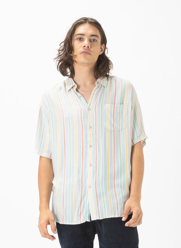 Holiday Short-Sleeve Shirt Natural Stripe