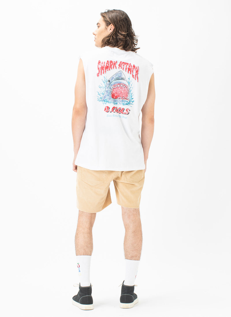 Little Shark Muscle Tee White