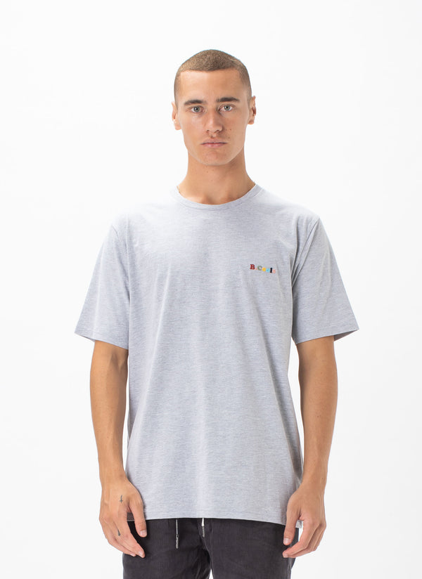 B.Cools Retro Embro Tee Grey Melange