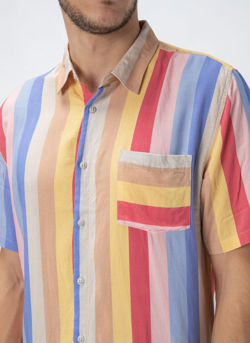 Holiday Short-Sleeve Shirt 70's Stripe - Sale