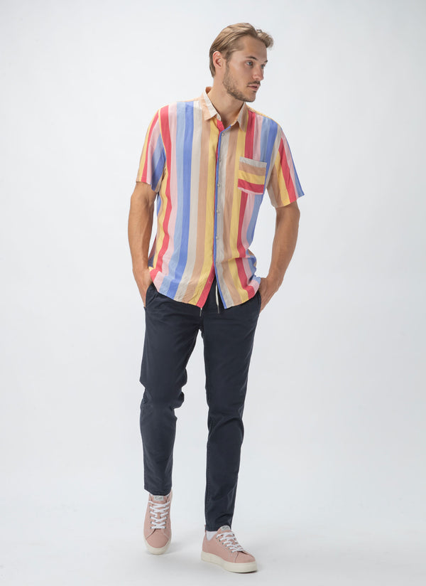 Holiday Short-Sleeve Shirt 70's Stripe
