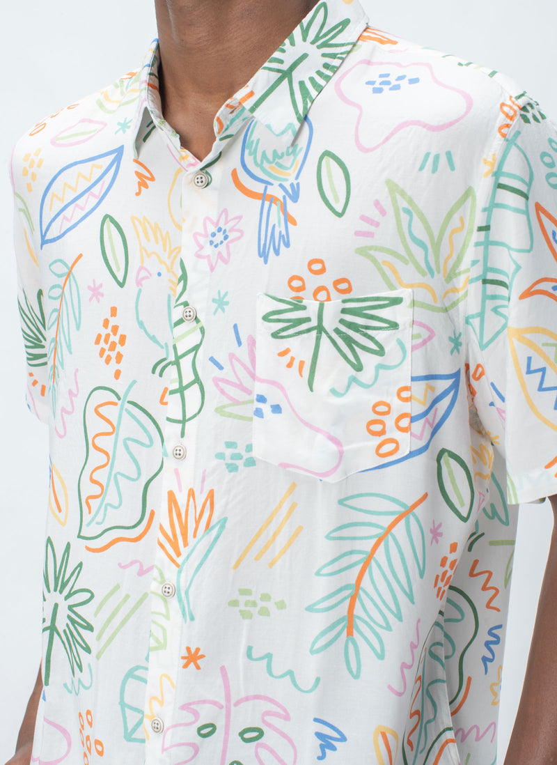Holiday Short-Sleeve Shirt White Summer