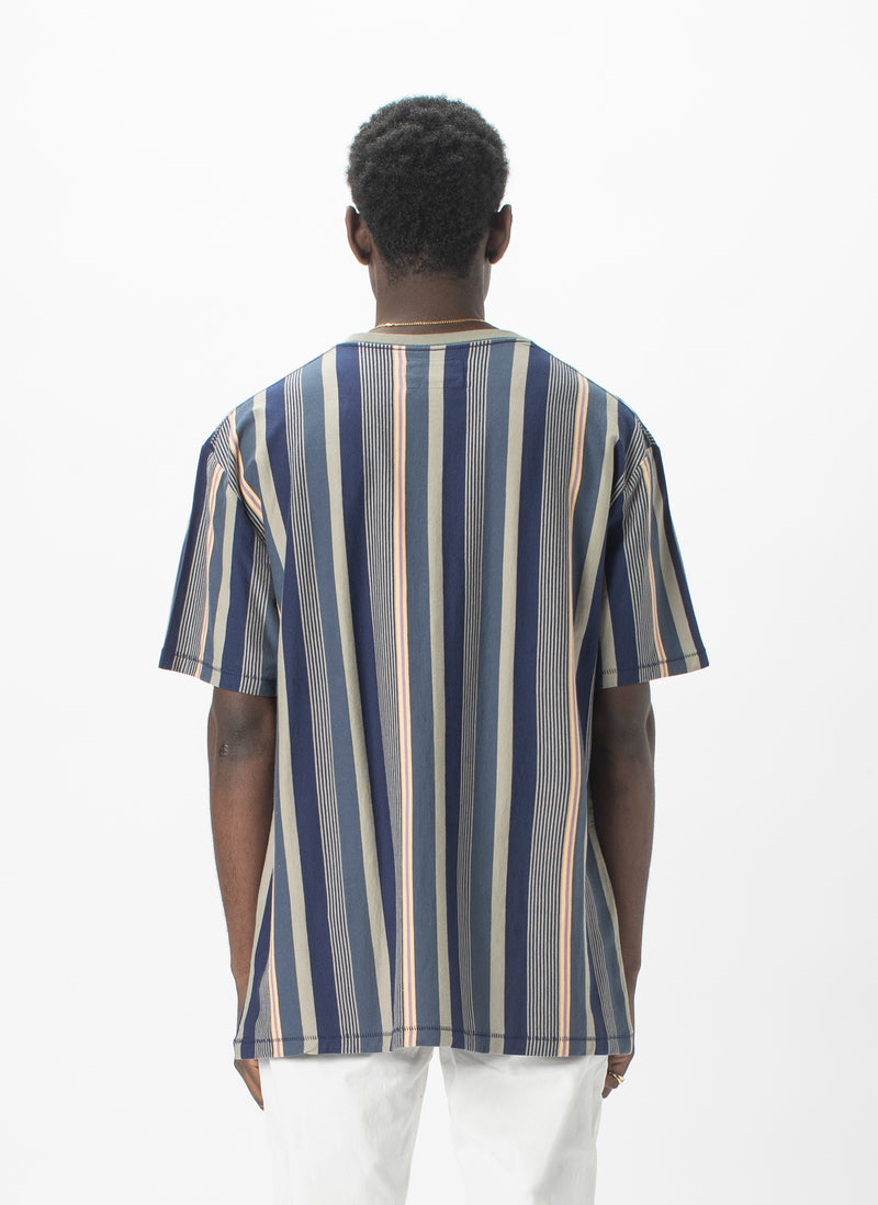 Leisure Club Tee Sage Stripe