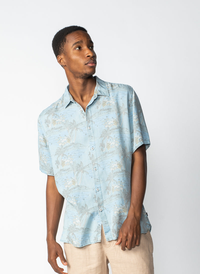 Holiday Short-Sleeve Shirt Indigo Dolphins - Sale