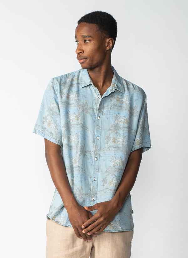 Holiday Short-Sleeve Shirt Indigo Dolphins