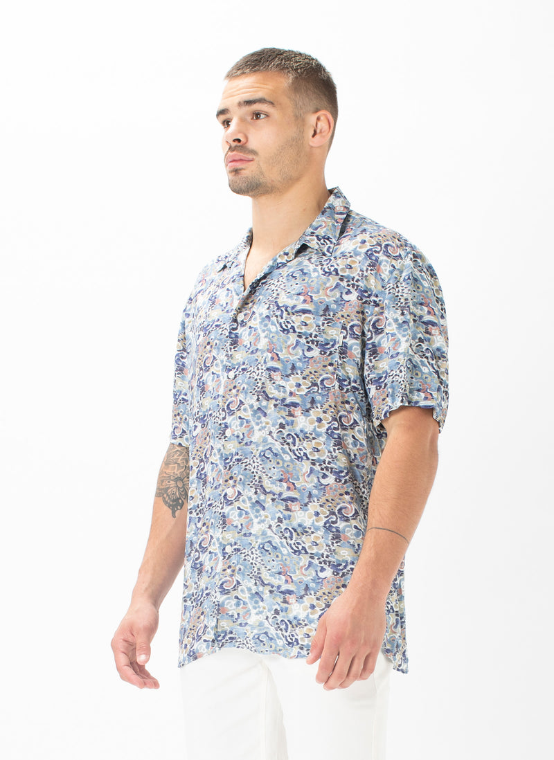 Holiday Short-Sleeve Shirt Indigo Ikat