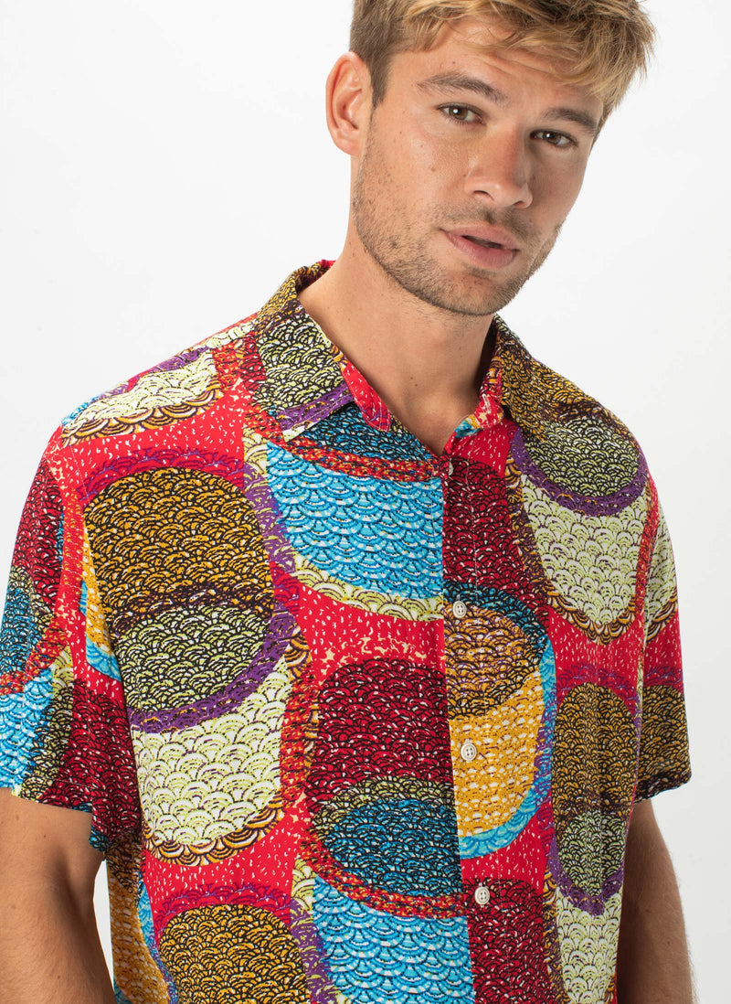 Holiday Short-Sleeve Shirt Red Disco