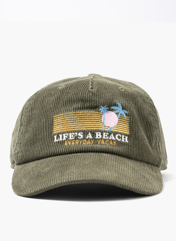 Life's A Beach Cap Bottle Green Cord