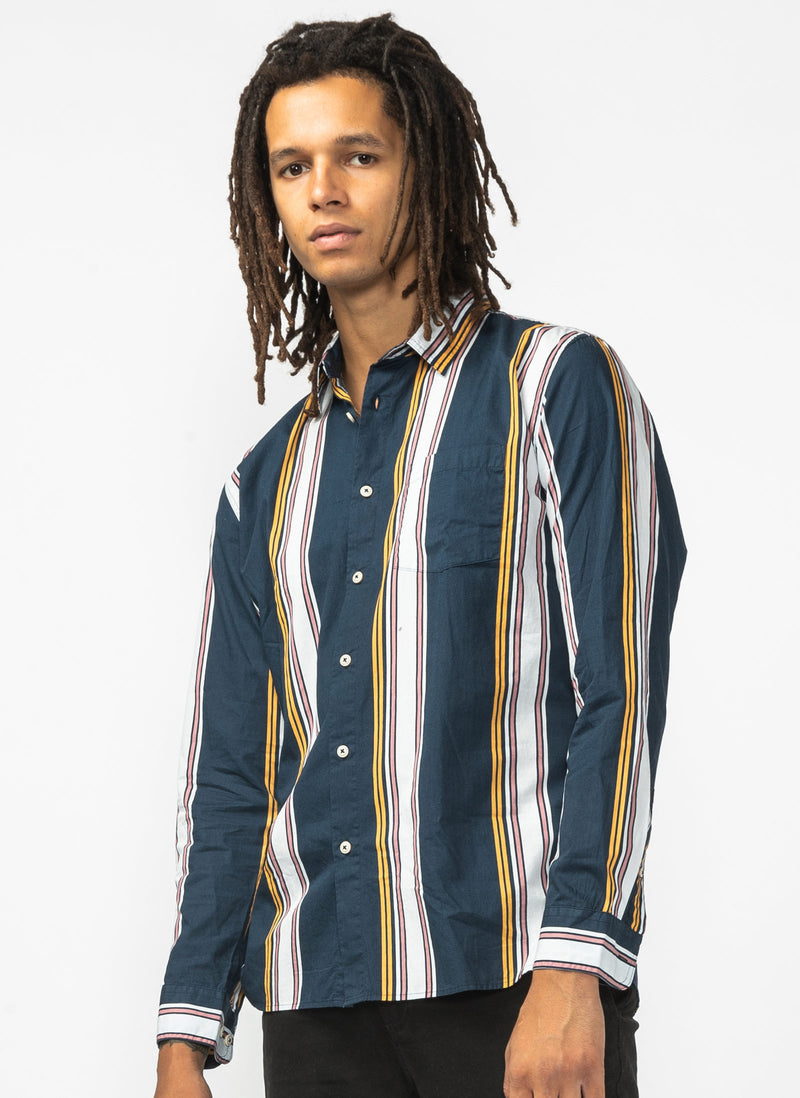 Holiday Long Sleeve Shirt Navy Stripe