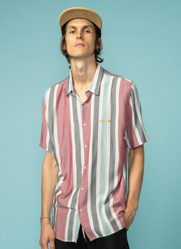 Holiday Short Sleeve Shirt Rose Vertical Stripe