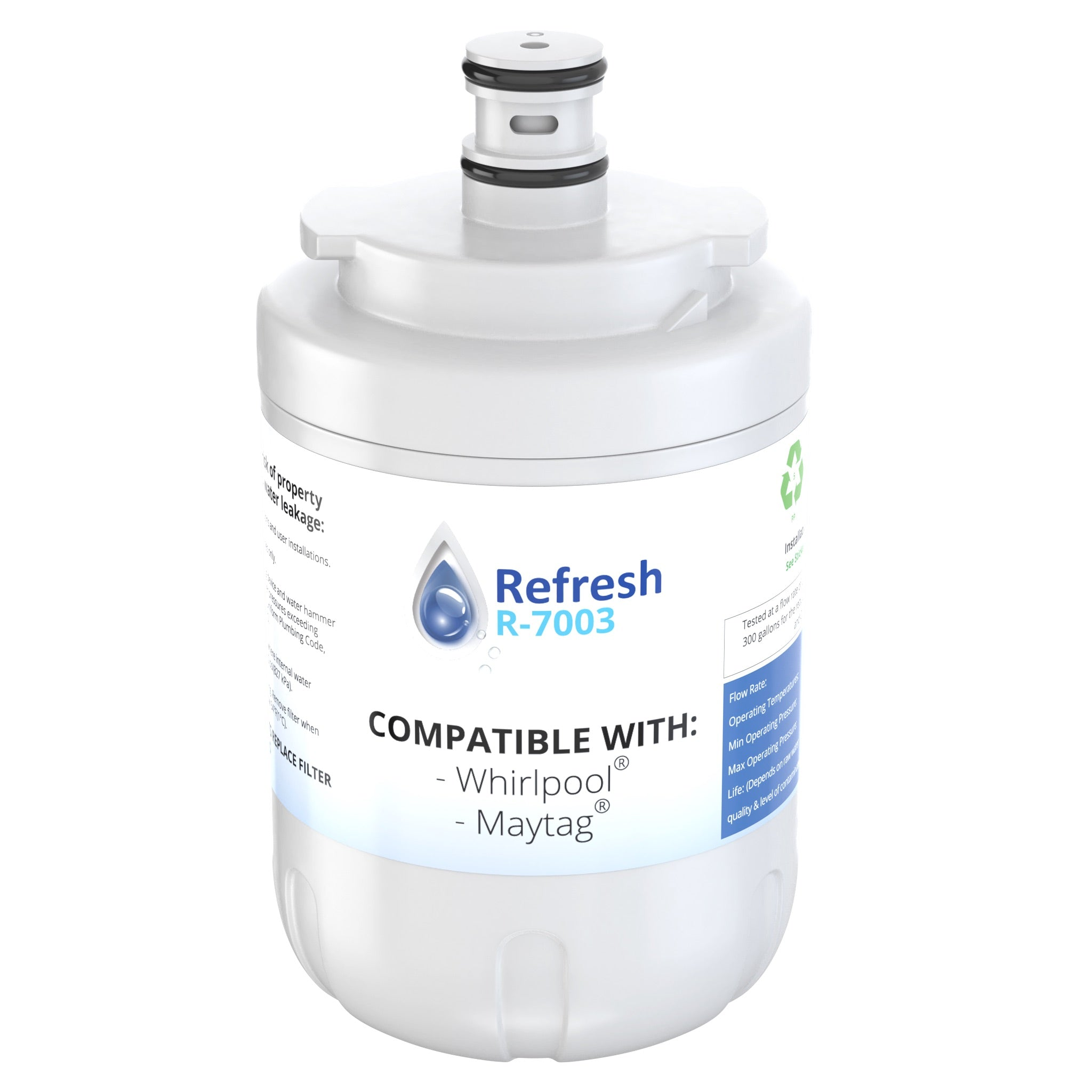 Refresh R-7003 Replacement Refrigerator Water Filter for AQUACREST UKF7003 and Maytag UKF7003, UKF7002AXX, WF288 and Whirlpool EDR7D1 and more!