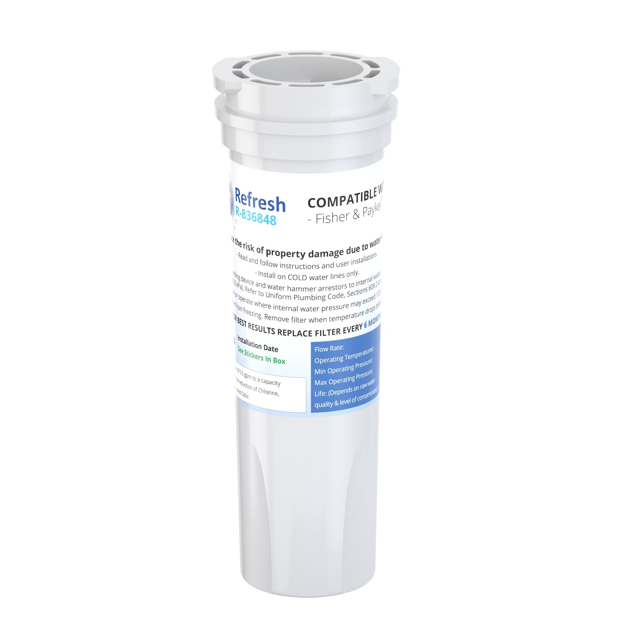 Refresh R-836848 Replacement Refrigerator Water Filter for Fisher & Paykel 836848, 836860, E522B, PS2067635, RF90A180DU, EFF-6017A, E402B, E442B, SUPCO WF296 and more!