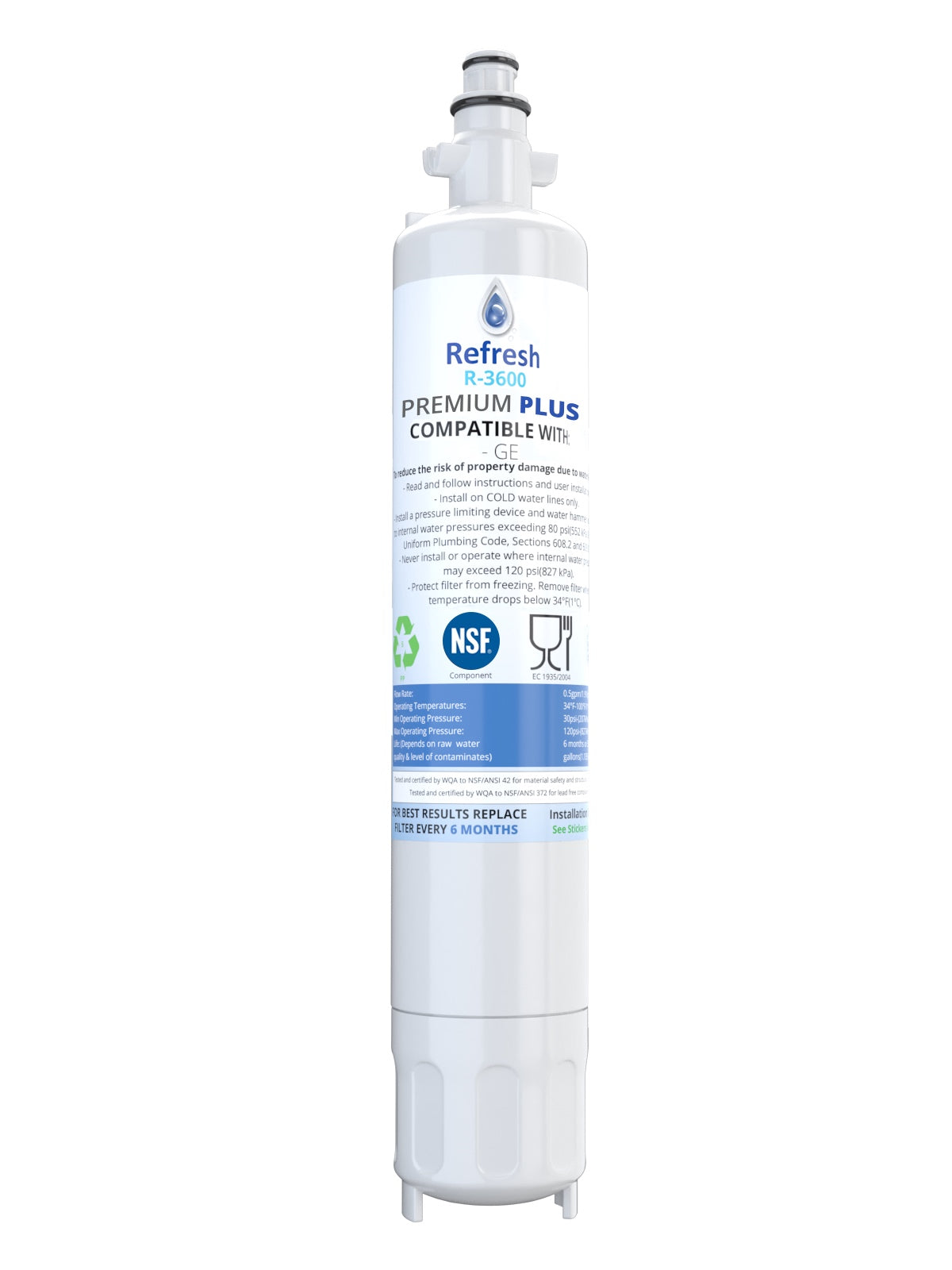 Refresh R-3600-Plus NSF-53 Replacement Refrigerator Filter for GE RPWF, R-3600 and FILTER models RWF1063, RWF3600A, RPWF, WSG-4  and more (does NOT fit RPWFE) !