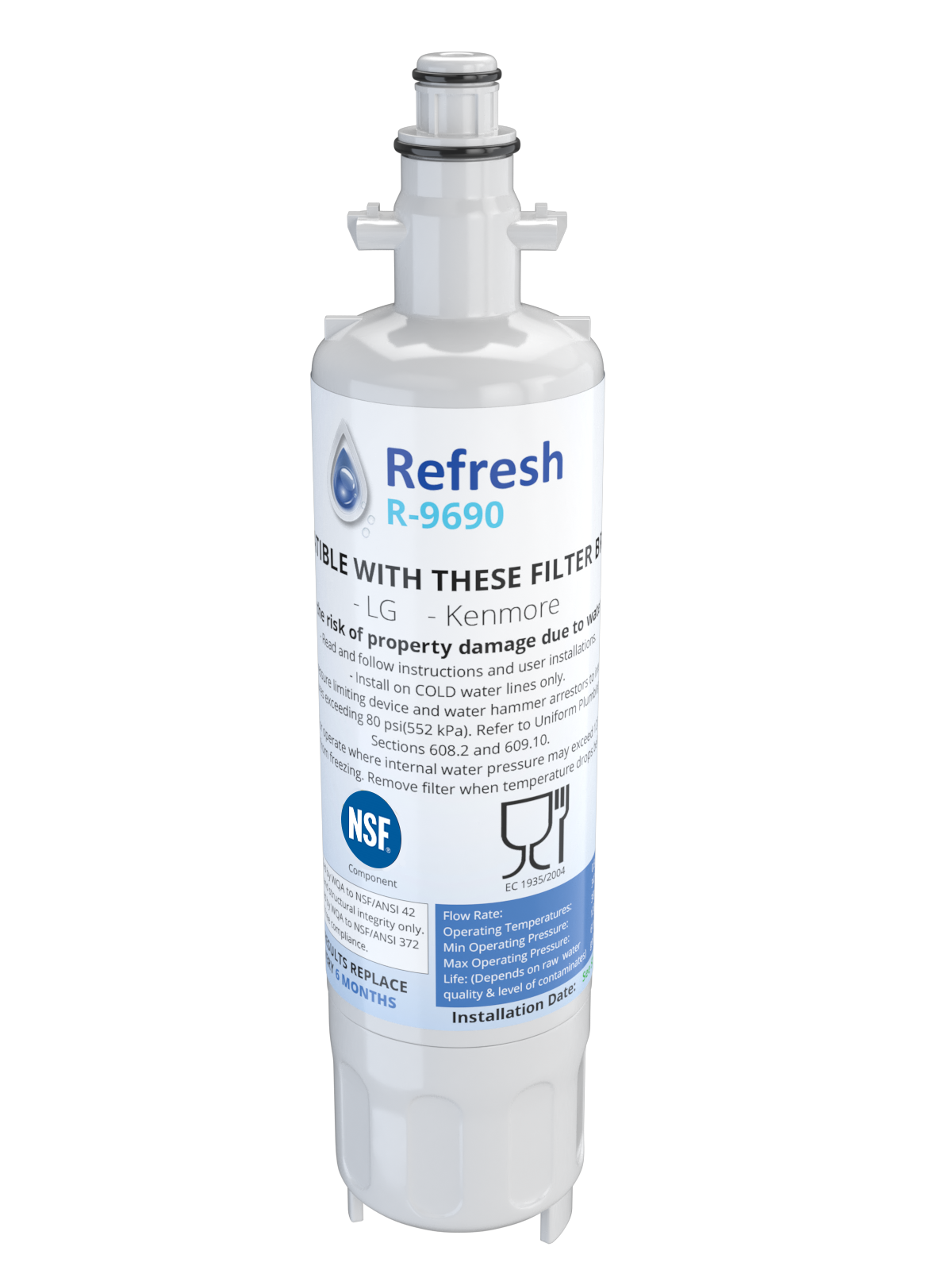 Refresh R-9690 Replacement Water Filter - Fits LG LT700P, ADQ36006101, LFX25976ST, and more!