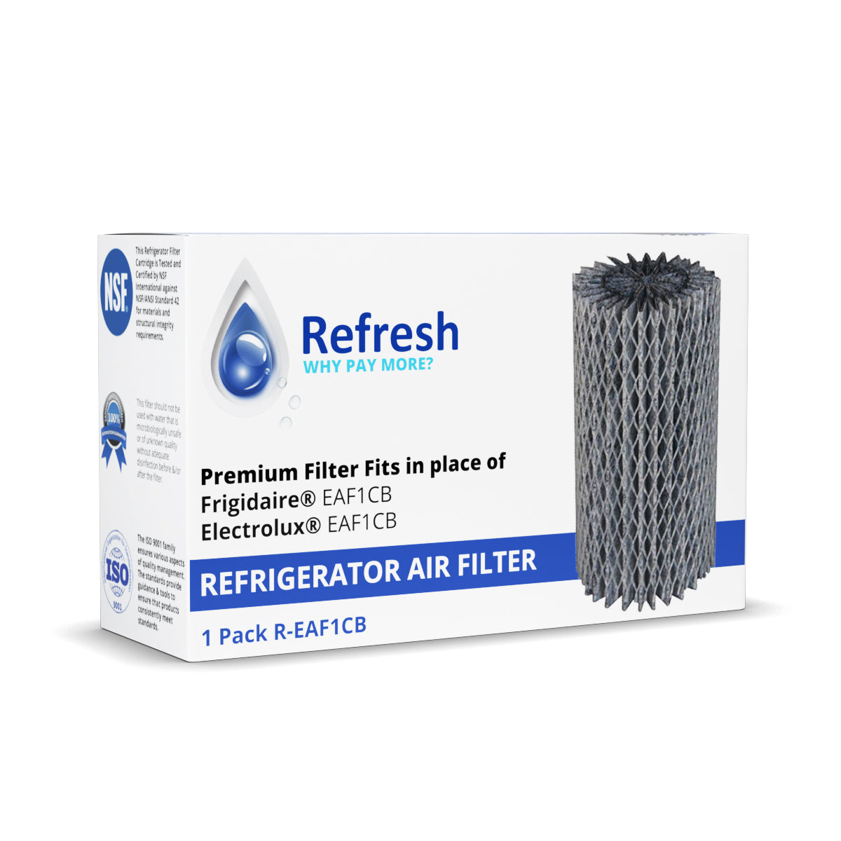 Refresh R-EAF1CB Replacement Refrigerator Air Filter Compatible with Frigidaire EAF1CB, Electrolux EAF1CB, 46-9917 and more!