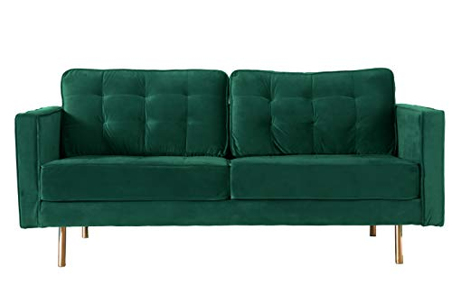 Bold Tones Teal Velvet 3 Seat Sofa with Gold Legs, Modern Tufted Fabric Couch, Large