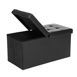 SONGMICS 30 Inches Folding Storage Ottoman Bench with Flipping Lid, Storage Chest Footstool, Faux Leather, Black