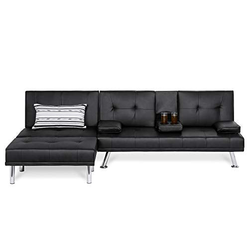 Best Choice Products Faux Leather Upholstery 3-Piece Modular Modern Living Room Sofa Sectional Furniture Set w/Convertible Single & Double Seat Futon Beds, Ottoman, Reclining Backrests - Black