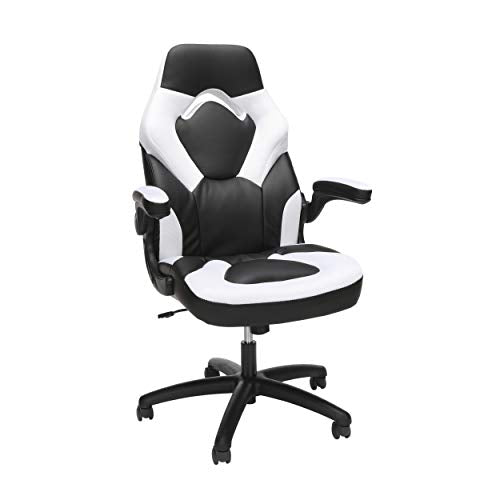 OFM Essentials Collection Racing Style Bonded Leather Gaming Chair, in White