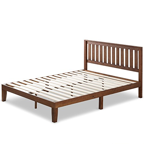 Zinus 12 Inch Wood Platform Bed with Headboard/No Box Spring Needed/Wood Slat Support/Antique Espresso Finish, Queen