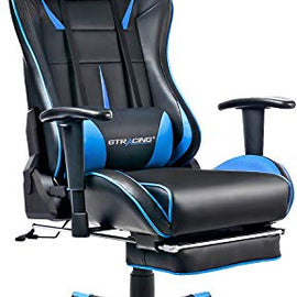 GTRACING Gaming Chair with Footrest Racing Computer Chair PU Leather Ergonomic High-Back Adjustable Height Professional E-Sports Chair with Headrest and Lumbar Pillows Black & Blue