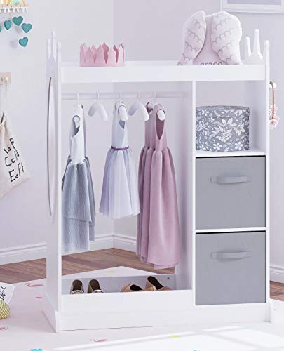 UTEX Kids Dress up Storage with Mirror and Storage Bin,Kids Play Armoire Dresser with Mirror,Kids Costume Organizer, Pretend Storage Closet for Kids,Costume Storage Dresser (White)