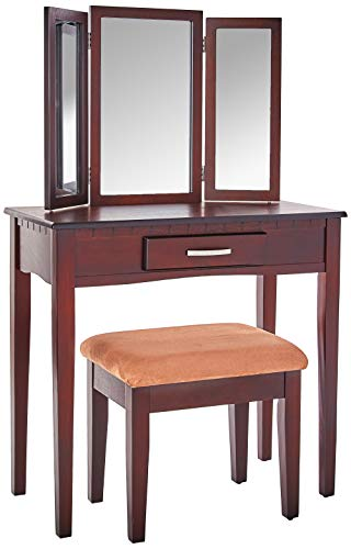 Frenchi Home Furnishing 2 Piece Home Furnishing Stool Set & Vanity
