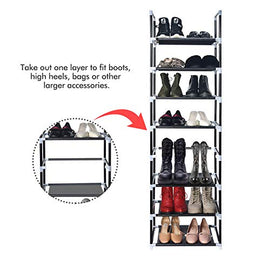 "ERONE Shoe Rack Organizer 8 Tiers, Stackable and Durable Shoe Shelf Storage 16 Pairs Metal Shoe Tower Space Saving 18"" x 11.9"" x 57.7""(Black)"