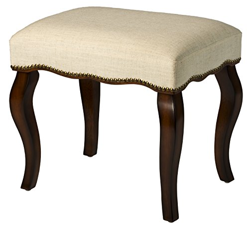 Hillsdale 50962 Hamilton Backless Vanity Stool, Burnished Oak with Cream Fabric