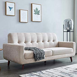 "Mid-Century Modern Sofa, Fabric, 79"" W Modern Upholstered Fabric Sofa, Mid-Century Retro Modern Fabric Upholstered Wooden 2-Seater Loveseat Tufted Fabric Sofa Couch for Living Room Bedroom (Beige)"
