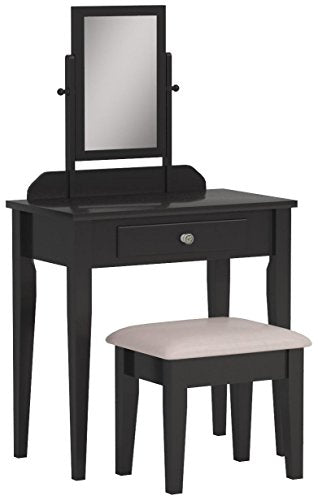 Crown Mark Iris Vanity Table/Stool, Espresso Finish with Beige Seat