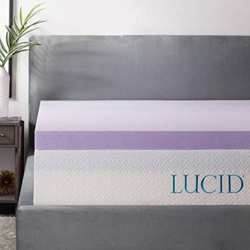 LUCID 3 Inch Lavender Infused Memory Foam Mattress Topper - Ventilated Design - Twin Size